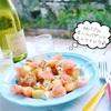 桃バジルモッツァレラ生ハムバゲットサラダとお気に入り!チリ産オーガニック白ワイン