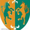 ユニコーンと蛇髪馬の紋章。