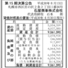 白い恋人パーク運営の石屋商事株式会社 第15期決算公告