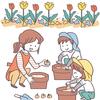 幼稚園でチューリップの球根を植える子供のイラスト
