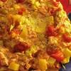 黄色ズッキーニとフルーツトマトで鮭のオムレツ、サーモンスキン
