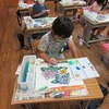 2年生:図工 あじさいを絵の具で彩色