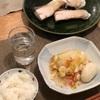ごはん、厚揚げと白菜の蒸し煮(とじゃがいももち)、ブリの塩焼き