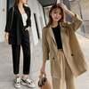 韓国ファッション セットアップ 上下セット テーラードジャケット 9分丈パンツ レディース