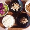 さば水煮、レタスサラダ、ほっけの大根おろし和え、小粒納豆。