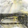 光芒が降り注ぐ信濃川沿い新潟の街並と萬代橋