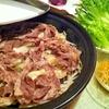ラム肉とくず野菜の蒸し焼きタジン ピリ辛塩麹ダレで