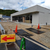 笠岡のアイランド跡地にオープン予定のコンビニの建築のようす。