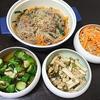 チャプチェ、もつ鍋風スープ、きゅうり漬け、エリンギ、切り干し炒め