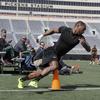 サッカー選手のアジリティテスト(アジリティテストとは、減速と方向転換を含むスピードテストになる)