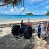 カタビーチでクラゲ防止ネットを設置!