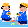 お弁当を見せ合う幼稚園の男の子、女の子