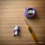 身長4cm!超ミニサイズのあみぐるみパンダ|DMCコットンパール8番刺繍糸で編む