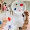 【1歳と4歳育児】梱包材のプチプチでお花スタンプ