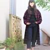 オンブレ格子のシャツワンピース③