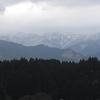 春の嵐 山は冠雪、麓は山桜