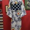 白地牡丹と蝶浴衣×市松&渦巻きオリジナルアンティーク半幅帯