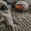 【途中経過4】『きょうの編みもの』より    アランの衿つきカーディガン 再開