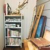 アトリエに本棚設置