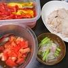 焼き肉、トマトポン酢漬け、パプリカピクルス、アスパラスープ