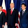 日米韓、1日遅れで共同声明 対北政策で結束を演出