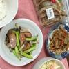 根菜のきんぴら、ポテトサラダ、アスパラとしめじの塩炒め
