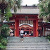 青島神社にて、旅の安全祈願を