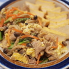 厚揚げ煮+豚バラ肉彩り野菜炒め玉子とじ