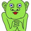 思案中の緑色の人 の無料イラスト