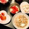 おうちごはん 八宝菜・マグロの山かけ・トマト・チーズちくわ