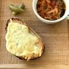 こなログ 鯖のトマト煮スパイス風味とチーズトースト