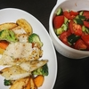 白身魚のバジルソテー、トマトきゅうりサラダ、味噌汁