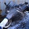 年末! お湯でバイク洗車♪