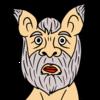 年老いたかわいい猫のような犬 のイラスト