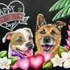 いろいろな犬を描く 10~バレンタインのチョークアート