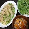青椒肉絲風、水菜サラダ、スープ