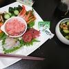 海鮮丼、うざく、味噌汁