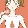 【フリーイラスト素材】スイカ柄のTシャツの女の子