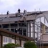 体育館の屋根も修復され、来月から始まる企画展の準備も急ピッチ・・・
