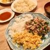 エスニックそぼろ丼(レシピ)、野菜スープ、イカシュウマイ
