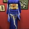 青色地紫陽花と撫子ジョーゼット訪問着×白地竹に百合刺繍お仕立て上がり京袋帯