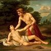 アポローン(アポロン)2 愛したのは女性だけではありません.アポローンに愛された男性の中で,よく知られているのがヒュアキントスとキュパリッソス.円盤が当たって死んでしまったヒュアキントスの流した血から「ヒアシンス」が生まれます.大好きな鹿を殺してしまったキュパリッソスは,イトスギに変身しました.