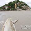 ホアヒンビーチで乗馬をしながらお散歩を楽しむ。