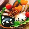 【キャラ弁】黒猫ぶち猫おにぎりとトンカツ弁当