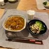 カレーライス、白菜の塩昆布和えとブロッコリー