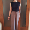 足長に見えるドローストリングパンツ|落ち感がきれいなドゥクラッセUVスラブ・ワイドロングパンツ
