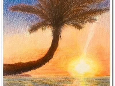 ハワイの絵が完成しました〜ノースシュア曲がりヤシの木〜