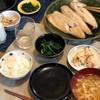 ごはん、鯖の味噌漬け、おから、ほうれん草のおひたし、あげとエノキと新玉の味噌汁
