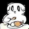 お家でカレーライスを食べる猫の無料イラスト
