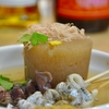 築地の「ツキジフィッシュバーガー・マサ」でおでん(大根、ほたるいか、炙り太刀魚)、自家製からすみポテトサラダ。
